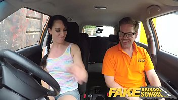 taxi fake driver awesome brunette cheated is by a Schmale fuck shemale